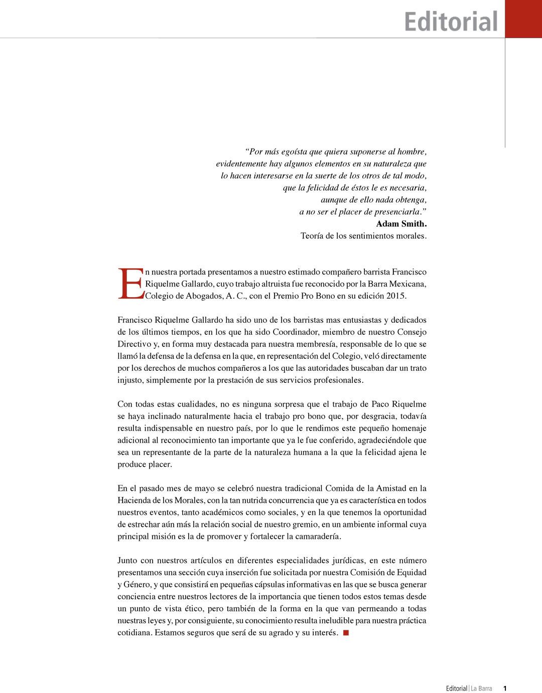 Premio Pro Bono Francisco Riquelme Gallardo Barra Mexicana de Abogados