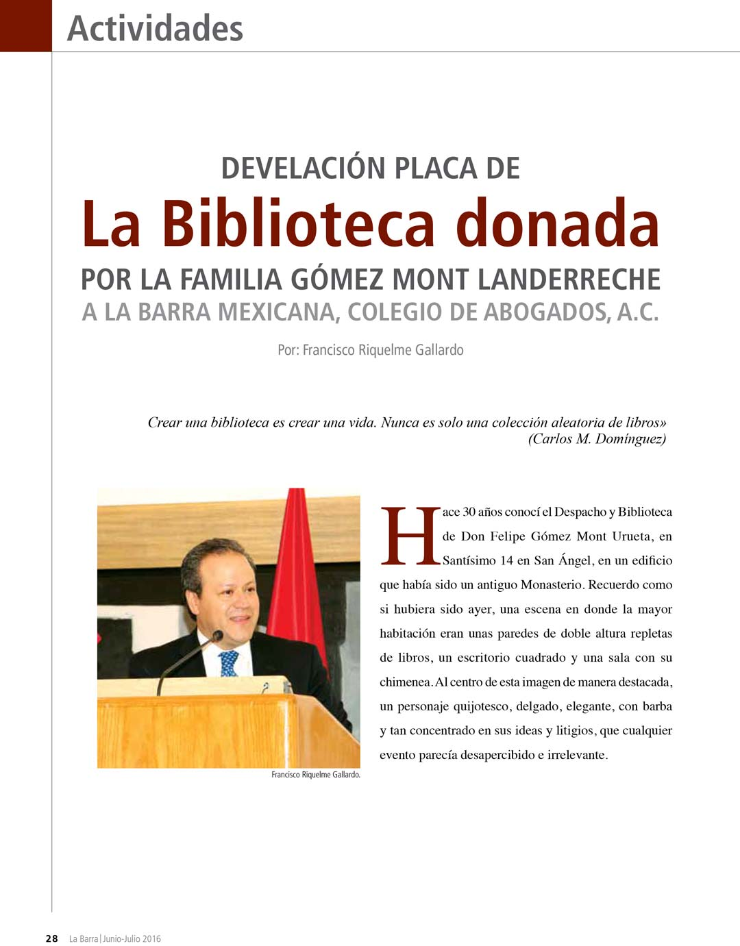 Donación de biblioteca Gómez Mont a Barra de Abogados